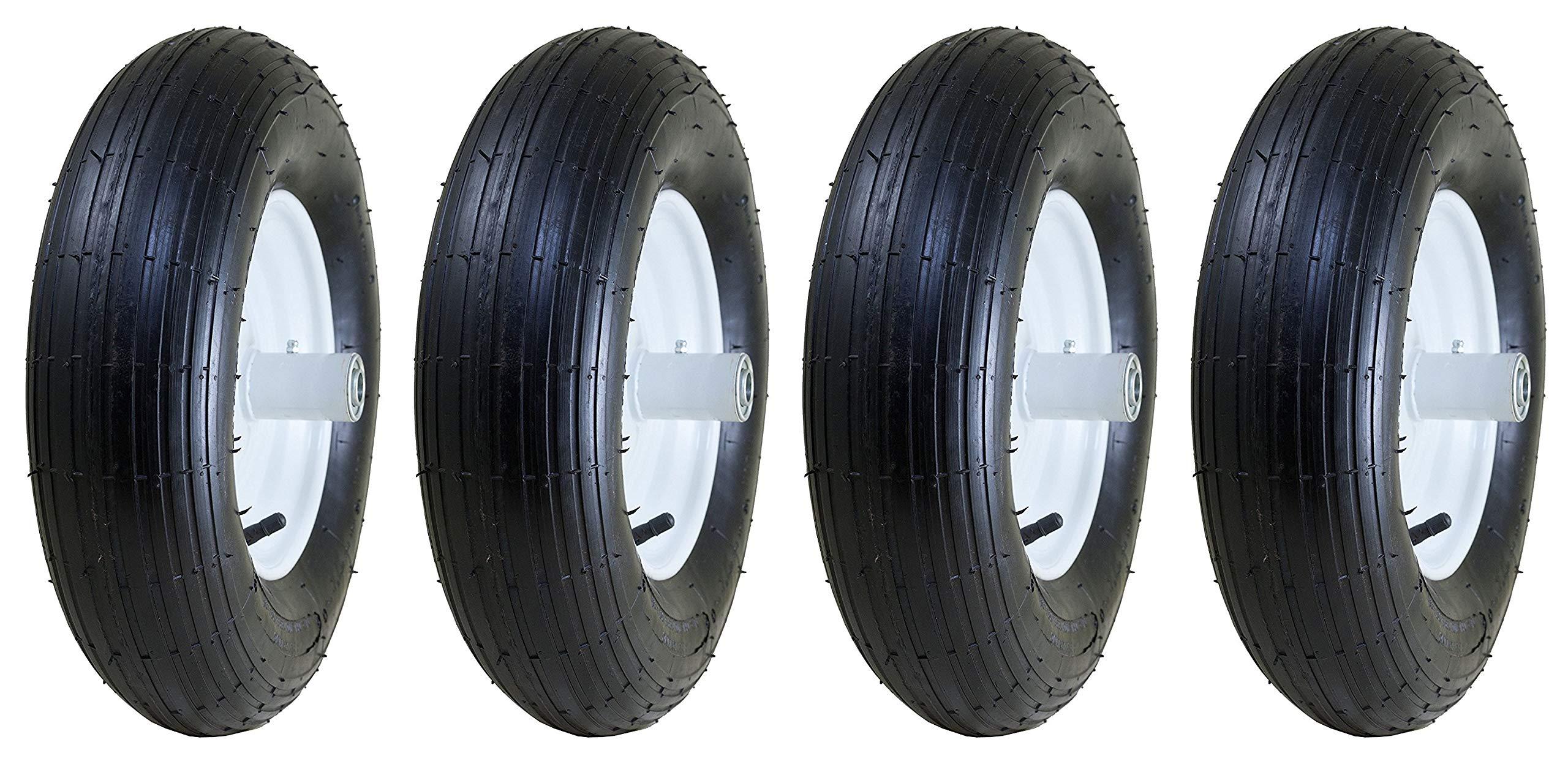 Marathon 4.80/4.00-8 Pneumatic (Air Filled) Tire on Wheel, 6 Hub, 5/8 Bearings, Ribbed Tread (Pack of 4)
