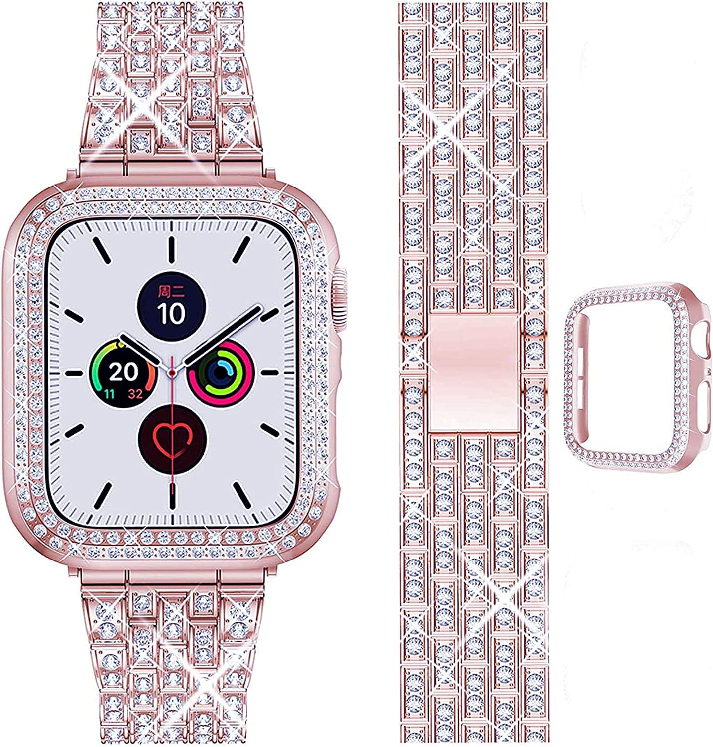 QVLANG Compatible Apple Watch Band 38mm 40mm 42mm 44mm Series 6/5/4/3/2/1/SE,Bling Series Band for Women + Diamond Rhinestone Case, Stainless Steel Metal Bracelet Strap for iWatch (Rose Pink, 44mm)