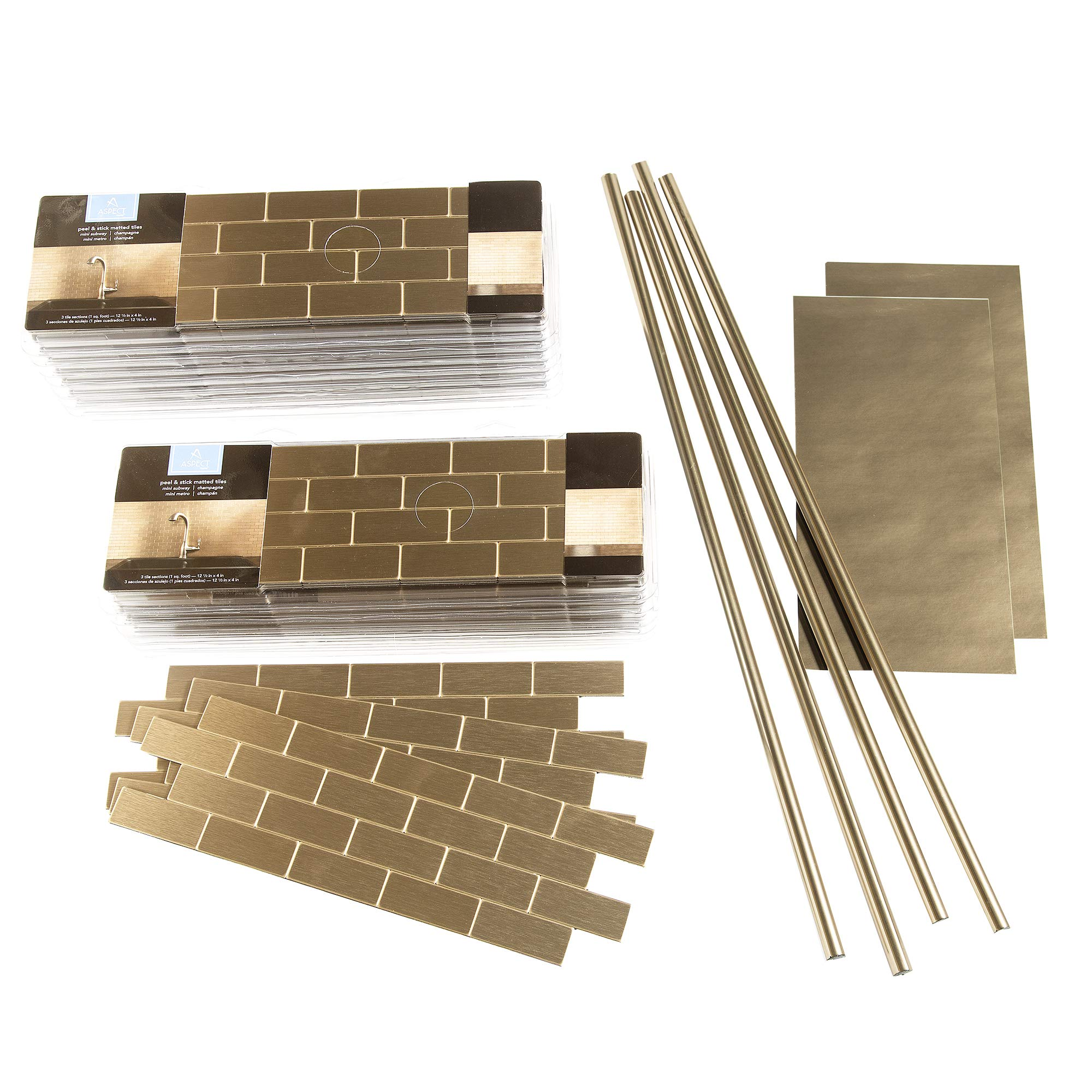 Aspect Peel and Stick Backsplash 12inx4in Subway Champagne Matted Metal Tile 15 Sq Ft Kit for Kitchen and Bathrooms