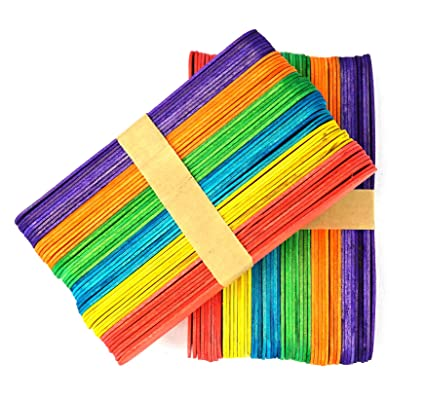 Tounge Depressor Sticks Craft/ Genius Art 100 PCS 6 Inch Colored Jumbo Popsicle Sticks for Crafts Made of Wood