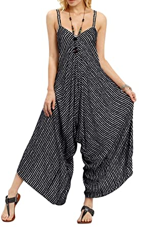 fc36aa44a3a LANOMI Women Cotton Dungarees Summer Overall Jumpsuit Baggy Playsuit Casual  Trousers Long Pants Plus Size Oversized UK 8 10 12 14 16 18 20 22   Amazon.co.uk  ...