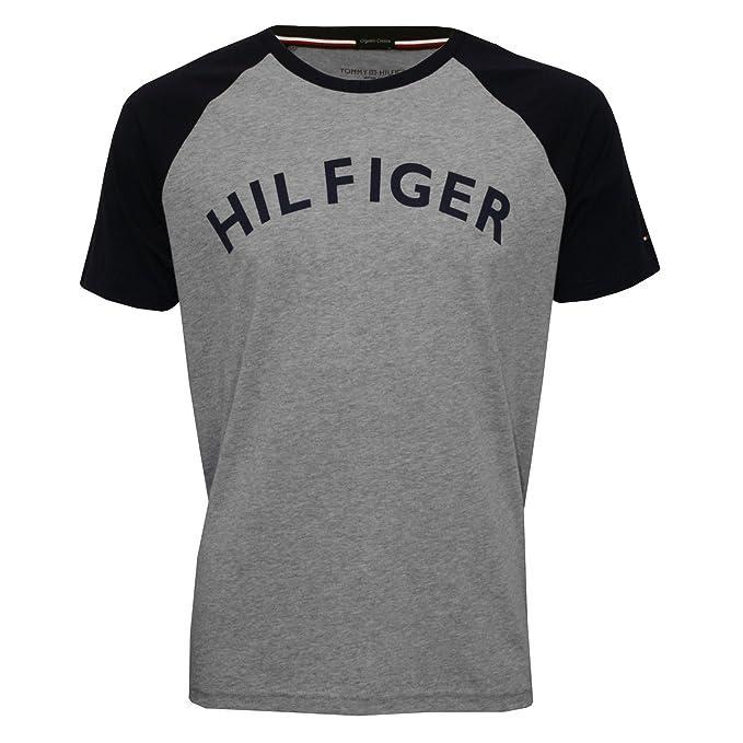 Tommy Hilfiger Camiseta Raglan Logo Cuello Redondo Algodón Orgánico De Los Hombres, Gris/Azul Marino X-Grande: Amazon.es: Ropa y accesorios