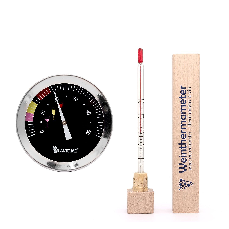 Lantelme 6666 Weinflaschen und Weinglas Thermometer Set - Weinthermometer Edelstahl und Holz Ausfü hrung mit Analoger Weintemperatur Anzeige