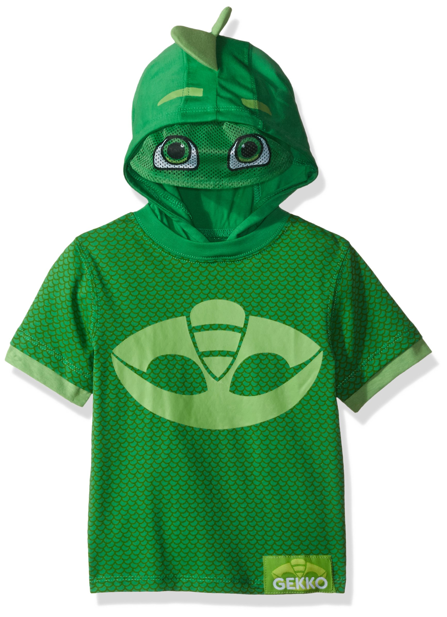 PJMASKS Toddler Boys' Gekko and Catboy Hoodie, Green Short Sleeve, 2T