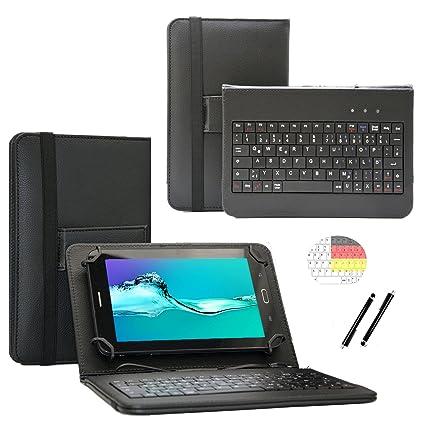 Deutsche Qwertz Tastatur für Lenovo Tab3 10 Plus TB3-X70F Tablet PC Etui Schutz Hülle mit Touch Pen - Tastatur 10.1 Zoll Schw