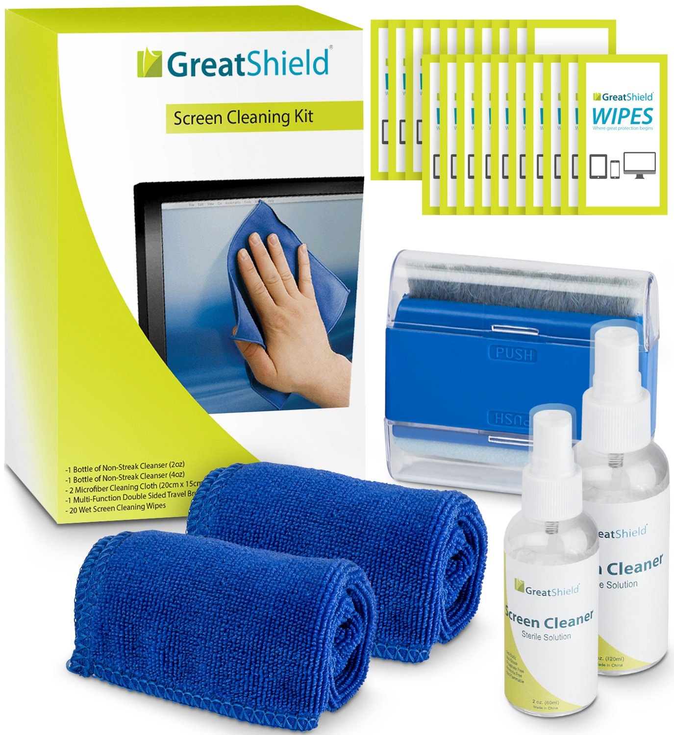 GreatShield Screen Cleaning Kit with 2 Bottle Solution (60ml and 120ml), 2 Microfiber Cloths, 20 Non-Alcohol Screen Cleaning Wipes, and Brush for Laptops, PC monitors, Smartphones, Tablets, iPhone, iPad, LED, TVs, DSLR Cameras, Camcorders GS09095