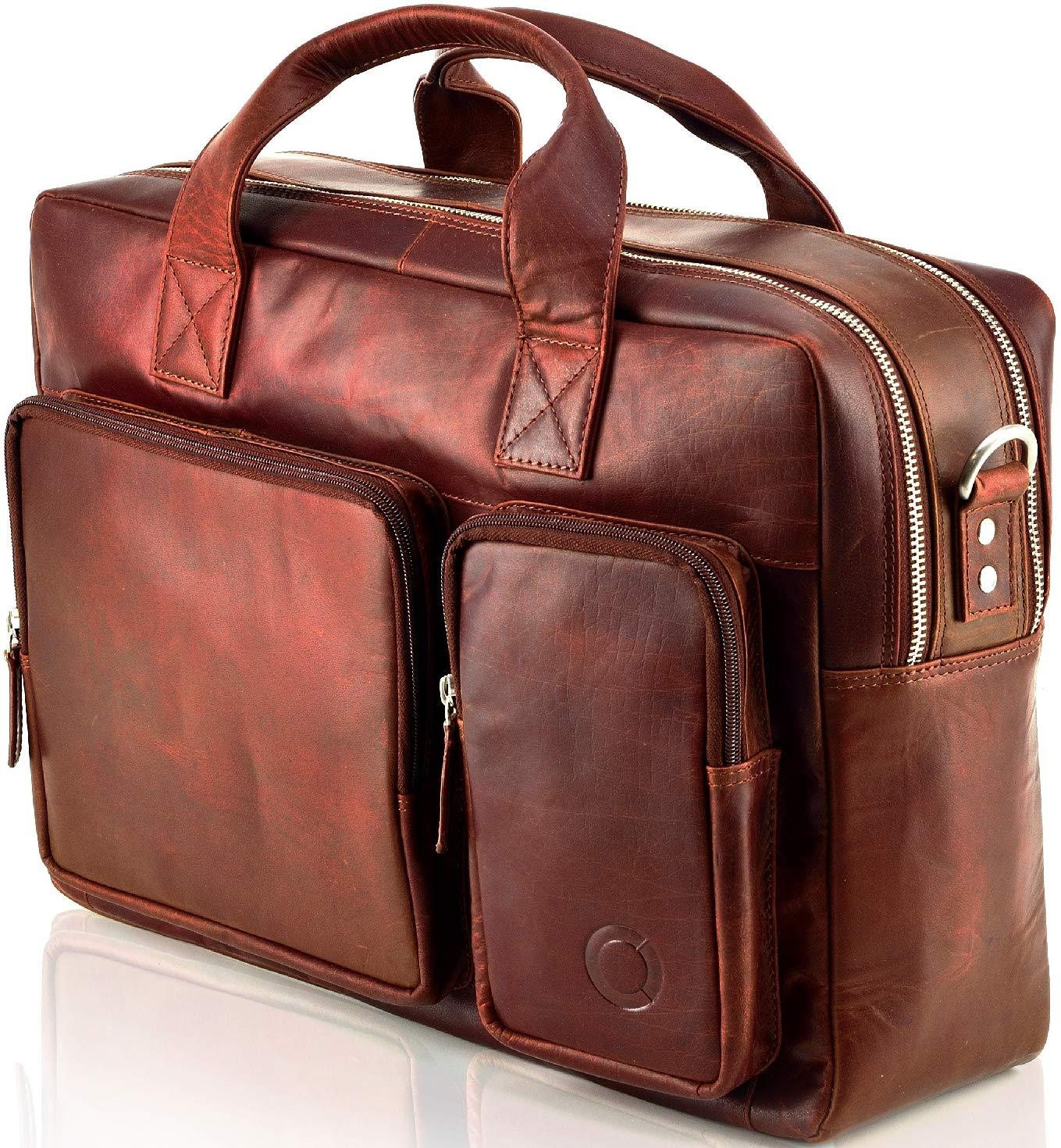 Messenger bag Aktentasche Schultertasche Umhängetasche DIN-A4 Laptoptasche 15, 6 Henkeltasche Echt Leder Schwarz Lima
