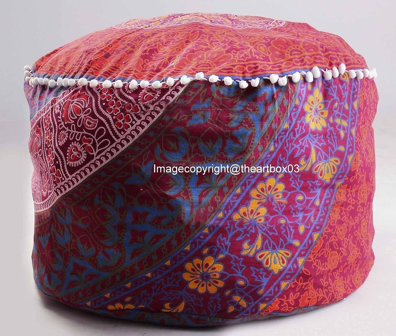 Mandala Round Seating Pouf Cover, Ottoman Furniture, Storage Ottoman, Living Room Ottoman, Indian Foot Stool Decor 14 x 24