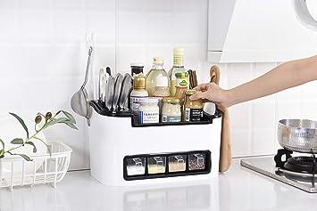 Lagerung regal küche RHINO® , ★ Hohe Qualität ★ Multifunktionale Küche  Lagerung Racks , Kunststoff Würze Box Gewürz Tank Set Mode Einfach , ...