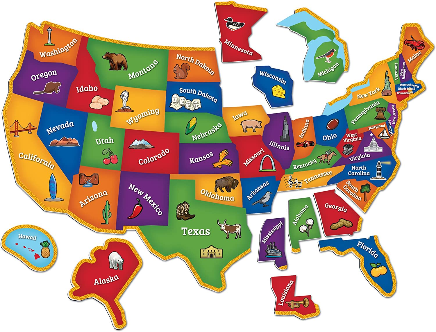 Interactive Us Map For Kids Amazon.com: Learning Resources Magnetic U.S. Map Puzzle, Geography