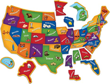 Learning Resources Magnetic US Map Puzzle, Geography and Fine Motor Skills,  44 Pieces, Ages 3+