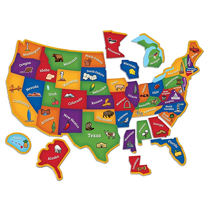 Learning Resources Magnetic U.S. Map Puzzle, Geography And Fine Motor Skills, 44 Pieces, Ages 3+ by Learning Resources