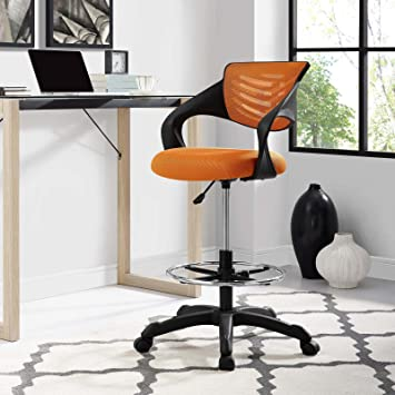Surprising Modway Thrive Drafting Chair In Orange Reception Desk Chair Tall Office Chair For Adjustable Standing Desks Creativecarmelina Interior Chair Design Creativecarmelinacom
