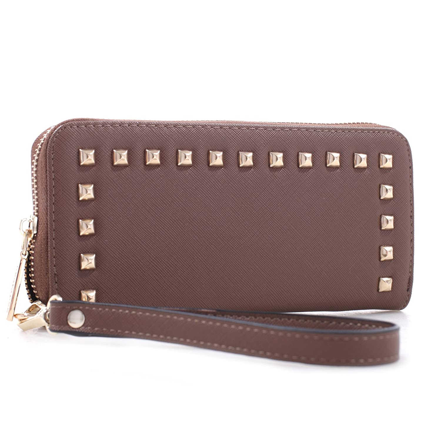 Studded Zip Around Continental Womens Wallet w  Wristlet Brown at Amazon  Women s Clothing store  7e772de379