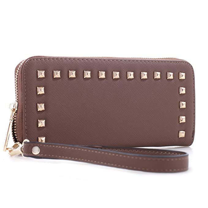 Studded Zip Around Continental Womens Wallet w  Wristlet Brown at ... 0a315589e