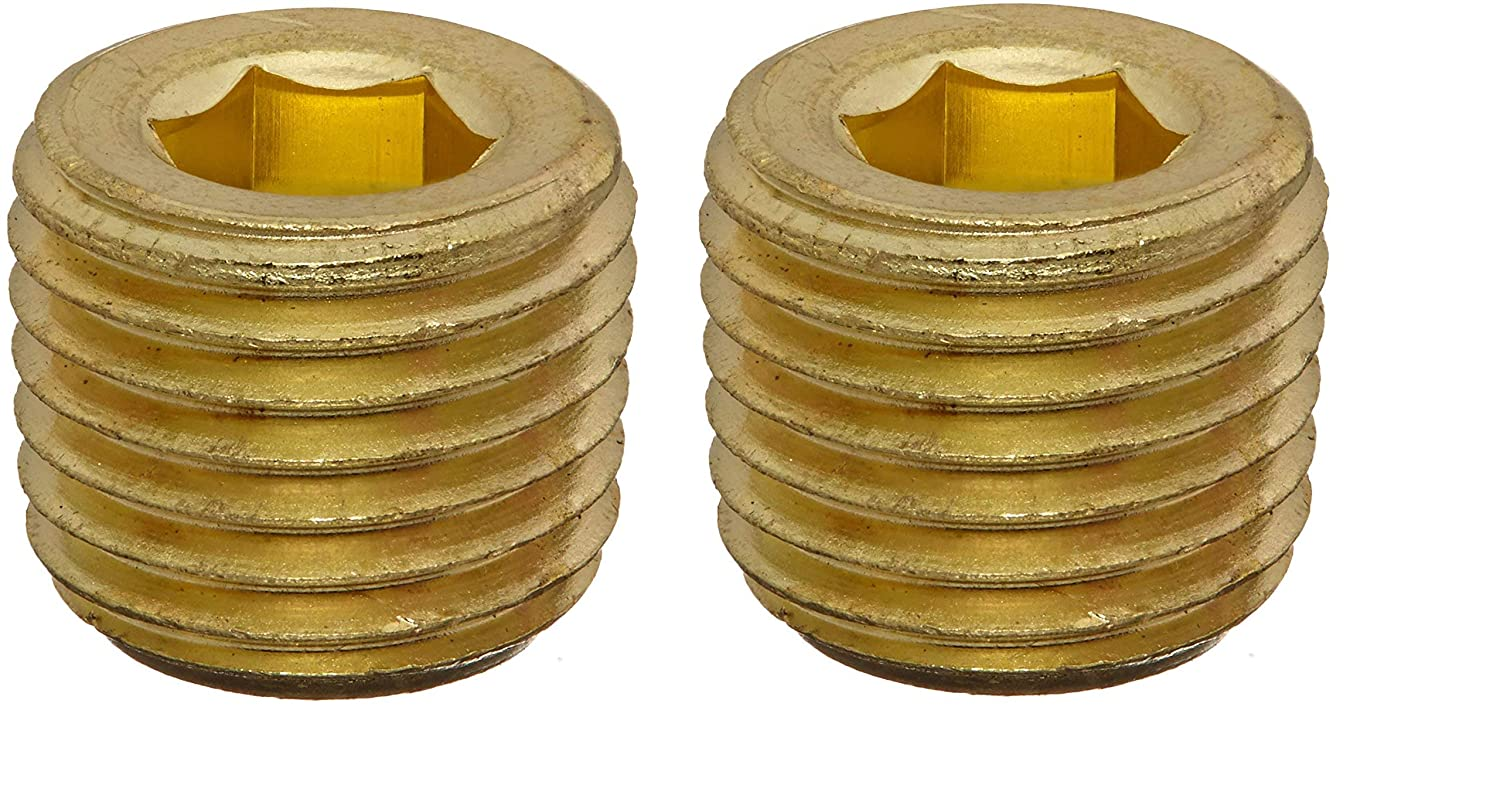 1//4 NPT Male Pipe 1//4 NPT Male Pipe 56115-04 Anderson Metals 56115 Brass Pipe Fitting Hex Drive Countersunk Plug