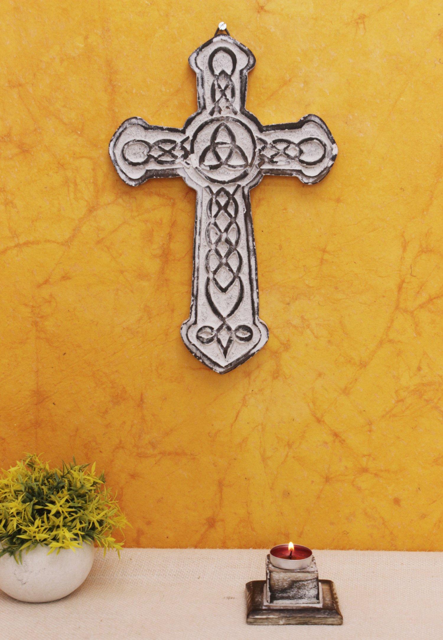 The StoreKing Wooden Decorative Wall Cross French Handmade Plaque Religious Altar Cross Home Living Room Home Decor (Design6)