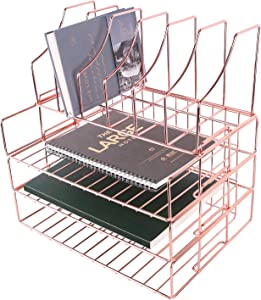 Hosaken Paper Tray, 3-Tier Stackable File Trays Plus Magazine Holder, Wire Desk Organizer Document Sorter Shelf for Home and Office Supplies, Rose Gold