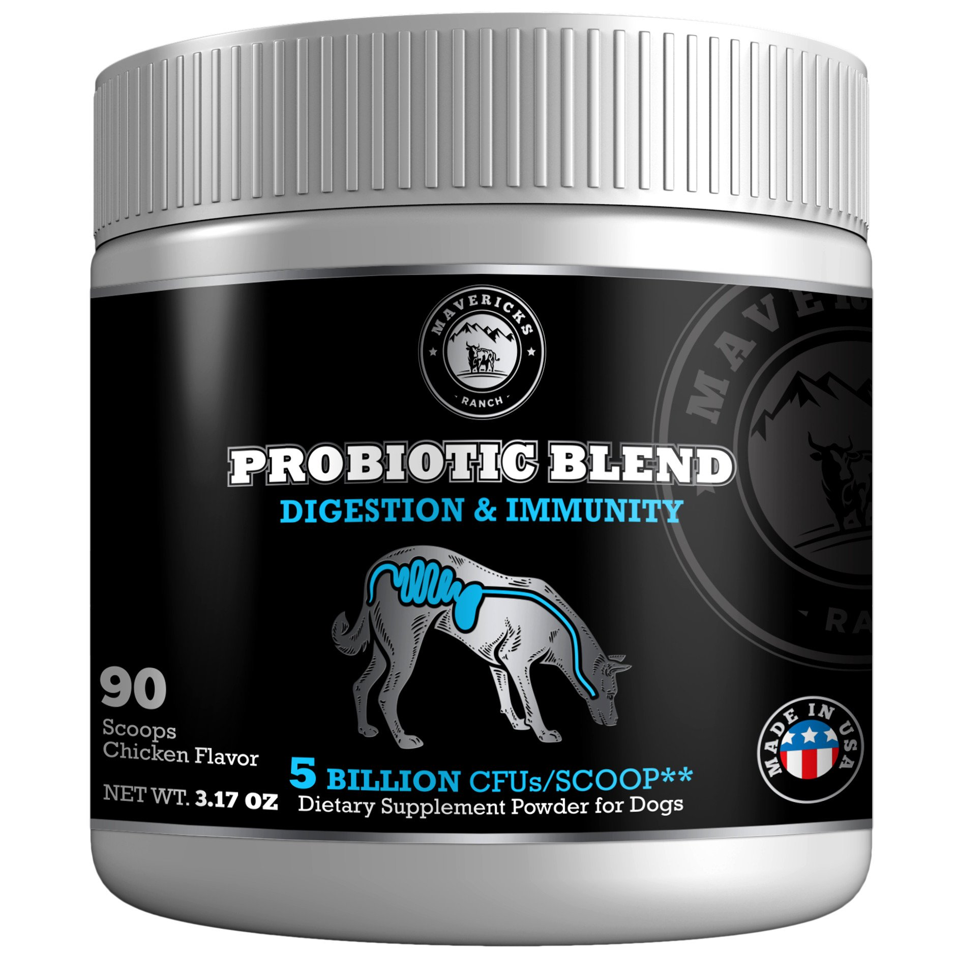 Mavericks Ranch Probiotics For Dogs | 9 Canine Friendly Strains | 5 Billion CFUs/Scoop | Unique Gut Flora Digestive Enzymes Powder | 30-90 Day Support | 100% Natural Pet Supplement & Made In USA |