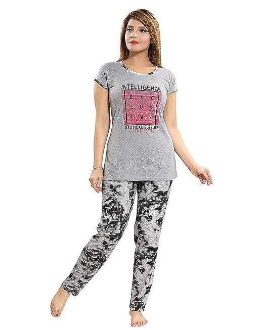 43a81b50c2 Elina Women s Girl s Cotton Hosiery Print Night Suit  Amazon.in ...