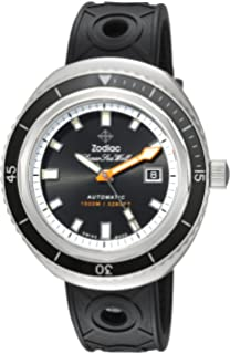 Zodiac Mens Super Seawolf 68 Extreme Stainless Steel Swiss-Automatic Watch with Rubber Strap,