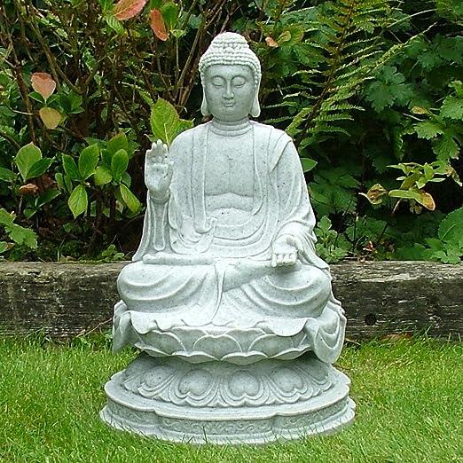 Estatua de Buda de granito - grandes ornamentos del jardín: Amazon.es: Hogar