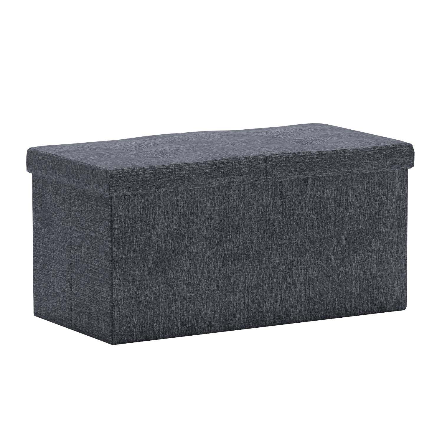 Otto & Ben 30'' Storage Ottoman - Folding Toy Box Chest with SMART LIFT Top, Linen Fabric Ottomans Bench Foot Rest for Bedroom, Dark Grey