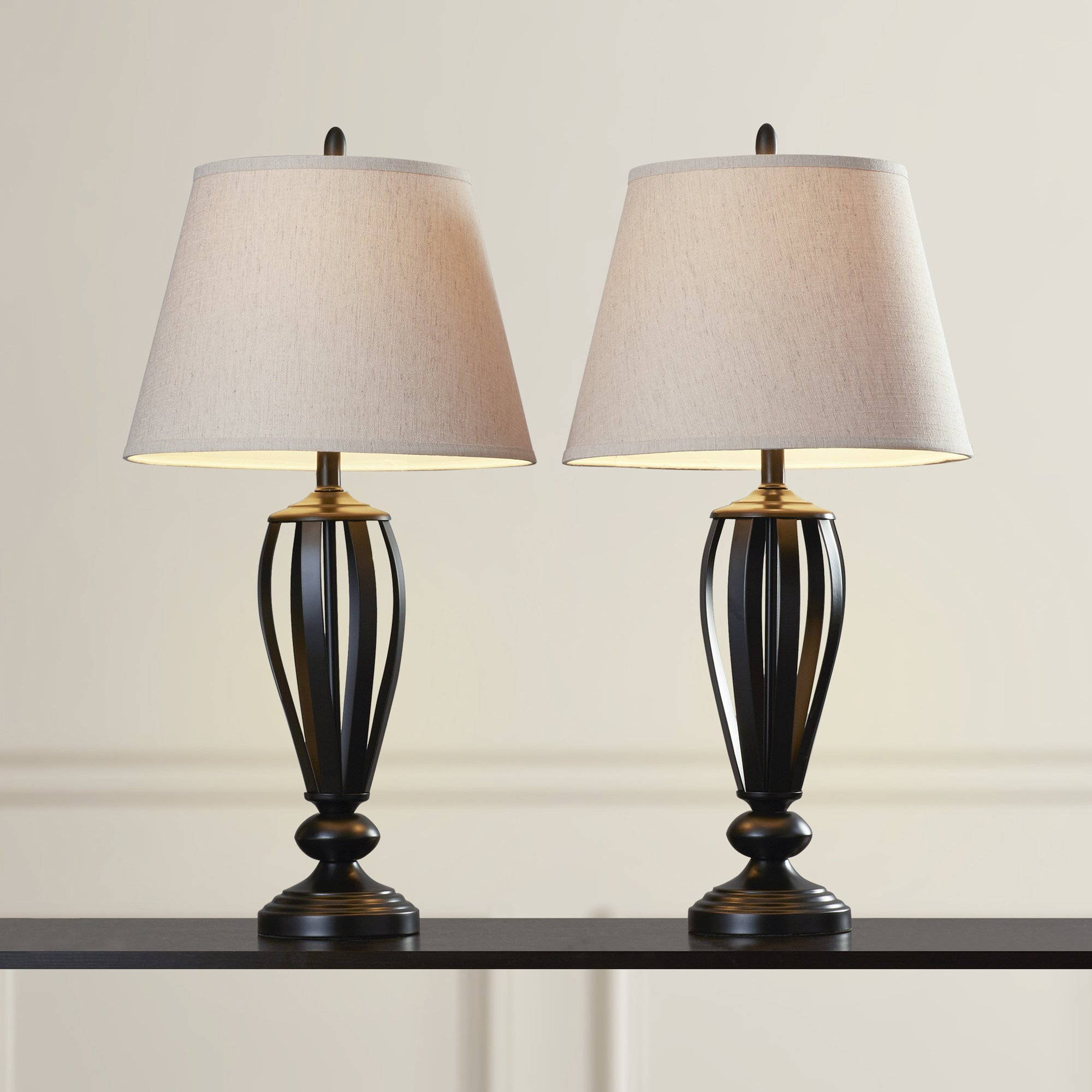 Contemporary Table Lamps - Set of 2 - Lightning For Your Bedroom Or Living Room - Empire Shade - Bronze Metal Base - 3-way Switch - 150 Watt max by ST Lightning