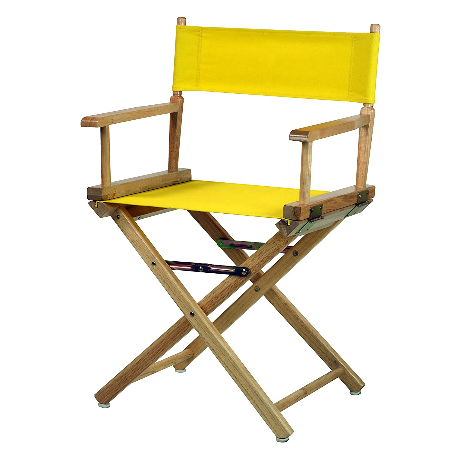 Yellow 18-Inch Casual Home 30-Inch Director Chair Natural Frame, Black Canvas