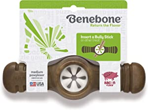 Benebone Real Bacon Durable Interactive Pawplexer Dog Chew Toy for Aggressive Chewers, Made in USA