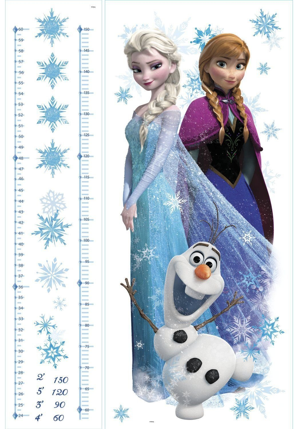 Wall decal for girl DISNEY FROZEN Growth Chart Wall Decals ANNA ELSA OLAF Room Decor Stickers Snow