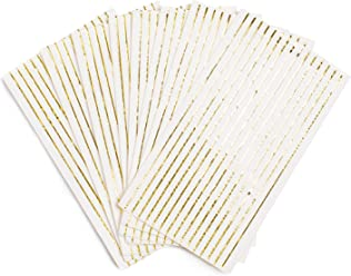 Sugar & Cloth Rectangle Paper Napkins, White with Gold Stripe, 32 Count