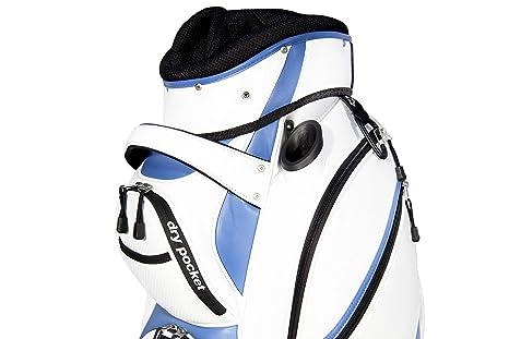 Bolsa para carros de golf manuales y eléctricos Serie Pro, con bolsillo antilluvia, color blanco y azul