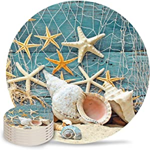 Ceramic Coasters Set of 6, Beach Coastal Starfish Seashell Absorbent Stone Drink Coaster with Non-slip Cork Back and No Holder for Cups