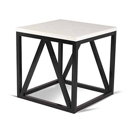 b030a5c60c Amazon.com: Kate and Laurel Kaya Two-Toned Wood Cube Side Table with White  Top and Black Base: Kitchen & Dining