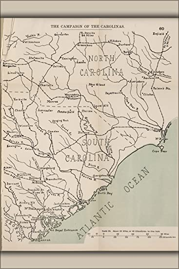 Amazon.com : 42x63 Poster; Civil War Map Of Campaign Of North ...
