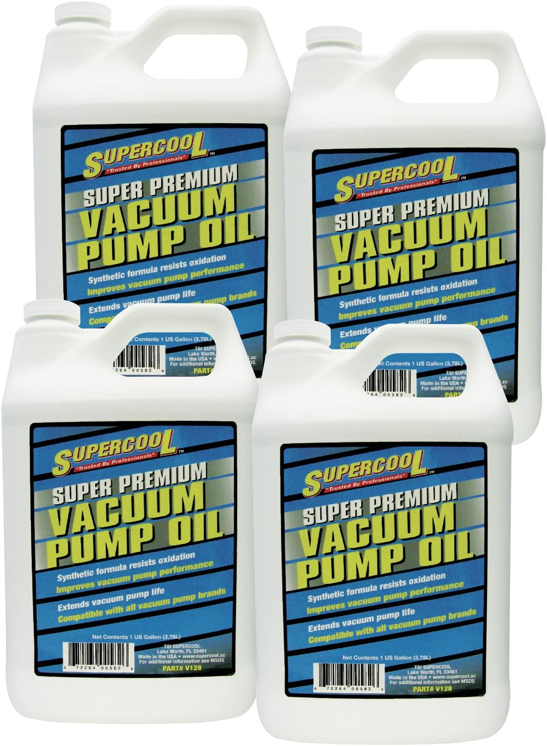 TSI Supercool V128-4CP Super Premium Synthetic Vacuum Pump Oil - 1 Gallon, 4 Pack