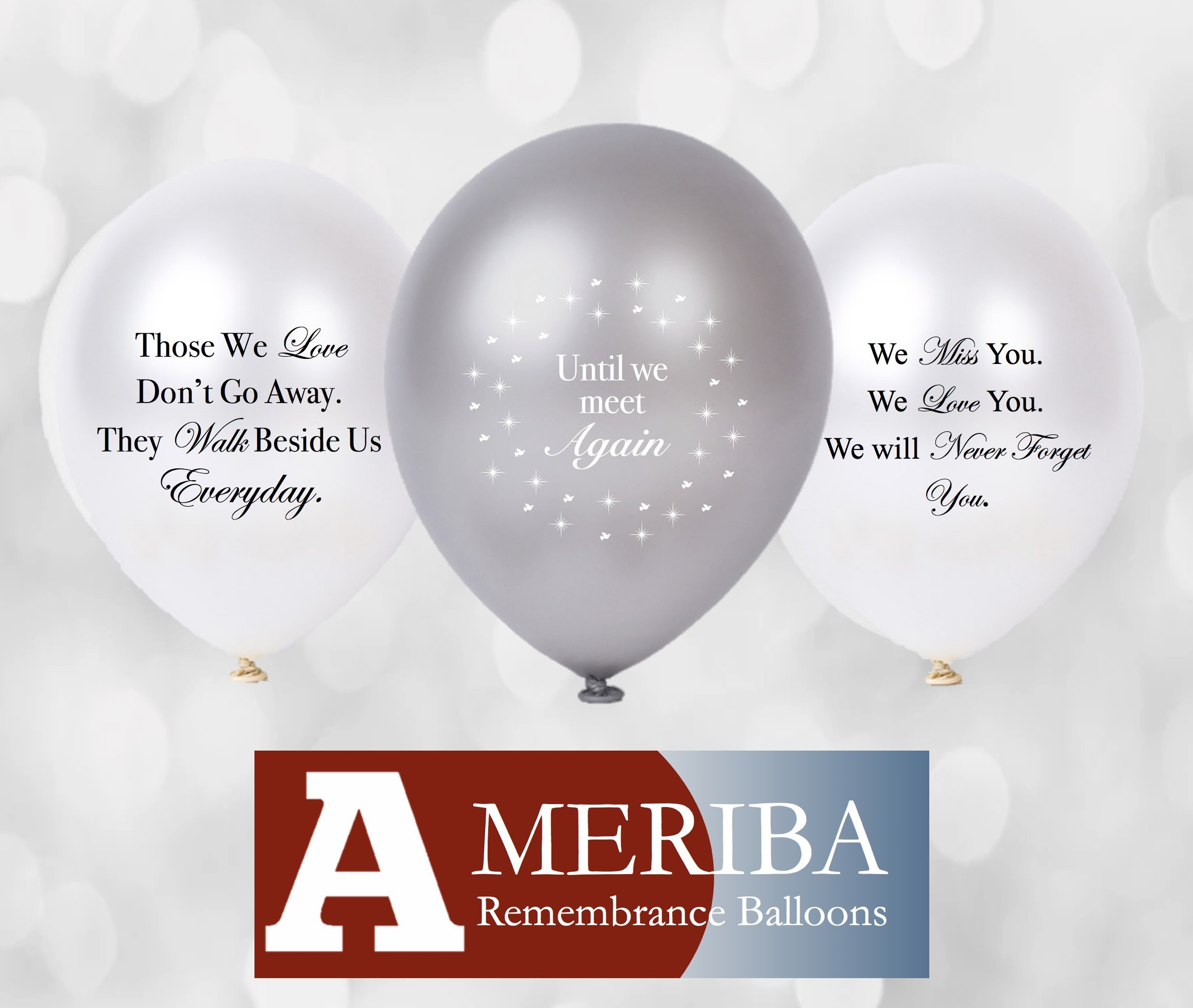 Biodegradable Remembrance Balloons: 30pc White & Silver Personalizable Funeral Balloons for Balloon Releases & Sympathy Gifts | Created/Sold by AMERIBA, a USA Company (White & Silver Variety)