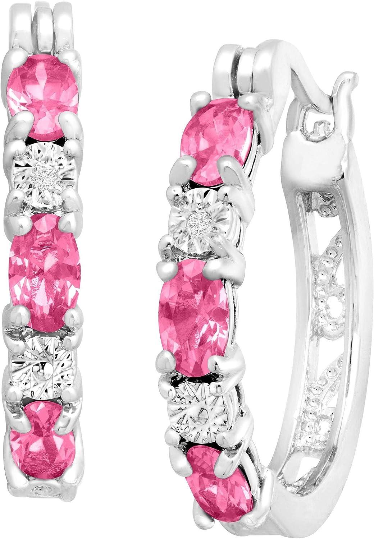 Gemstone Hoop Earrings With...