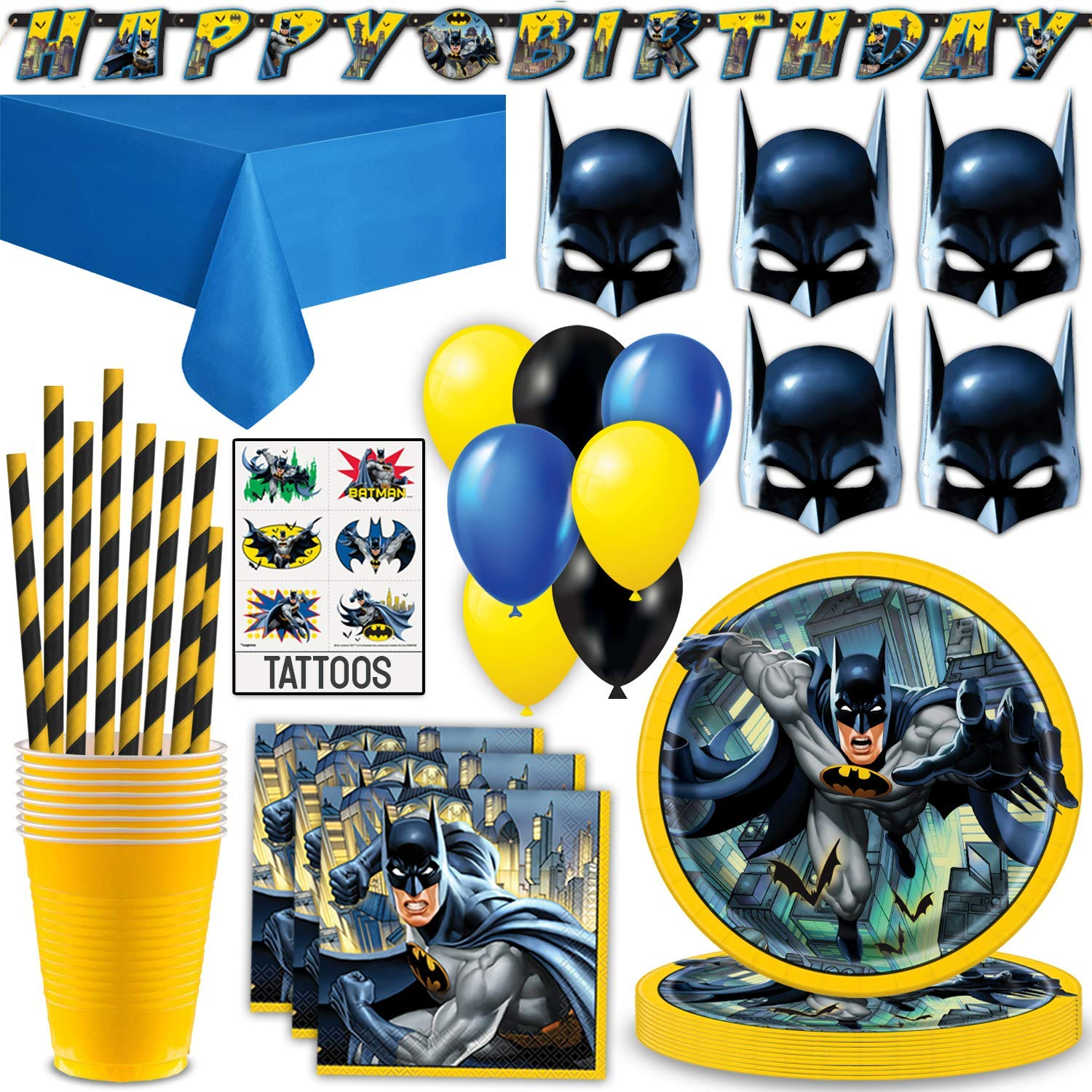 Batman Party Supplies for 16 - Plates, Napkins, Cups, Straws, Table Cover, Masks, Happy Birthday Banner, Balloons, Temporary Tattoos - Great Decorative Birthday Set by HeroFiber
