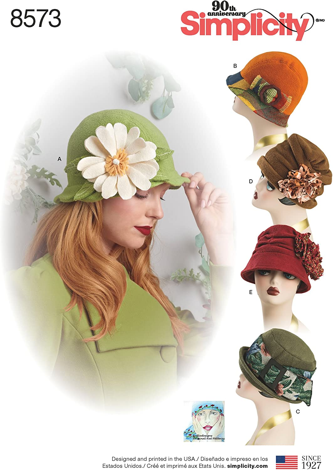 S-M-L Simplicity Creative Patterns 8573 Misses Flapper Hats in Three Sizes
