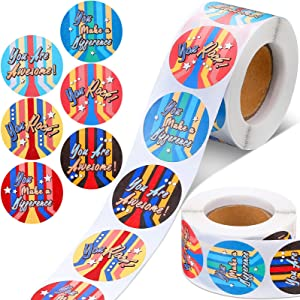 Epakh 1000 Pieces Appreciation Stickers 1.5 Inch Positive Sayings Label You Rock Stickers Roll Inspiration Stickers for Gratitude to Volunteers Nurses Teachers Business, 6 Designs