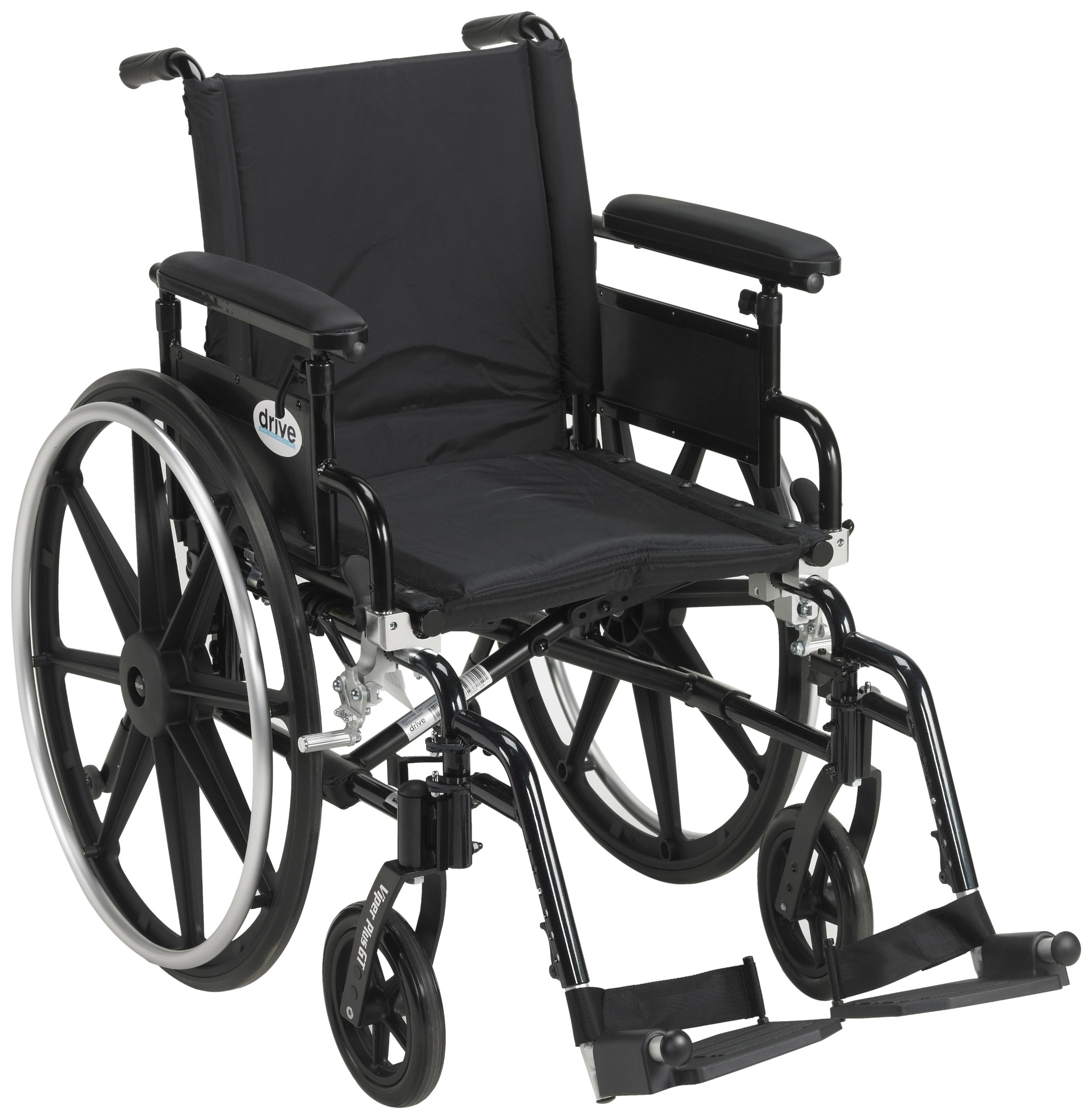 Drive Medical Viper Plus GT Wheelchair with Flip Back Removable Adjustable Full Arms, Swing away Footrests, 18'' Seat