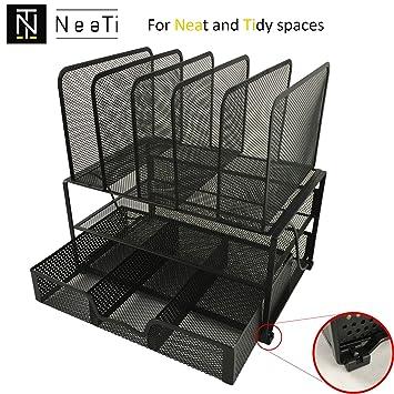 Organizador del escritorio en metal negro. RESISTENTE con material antideslizante y antiarañazos. Diseño ELEGANTE