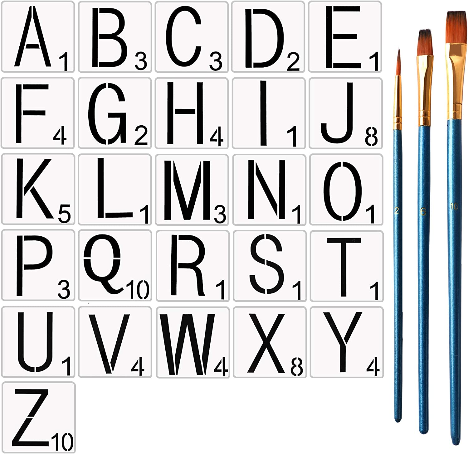 4 Inch Scrabble Letters Stencil for Christmas Painting on Wood with 3Piece Painting Brushes,Reusable Tile Stencil, Scrabble Letters for Christmas Wall Decor,Home DIY Crafts,Family Names