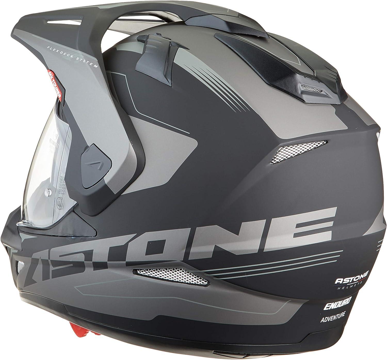 Casque int/égral polyvalent 3 en 1 enduro route et trail Casque de motocross homologu/é en polycarbonate Astone Helmets Matt grey//black CROSS TOURER GRAPHIC ADVENTURE