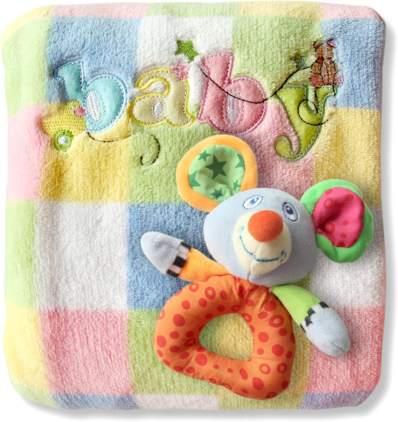 Baby Blanket & Rattle Gift Set for Boys or Girls, Ultra-Soft Fleece 30 x 40 by BubbyBabiesTM