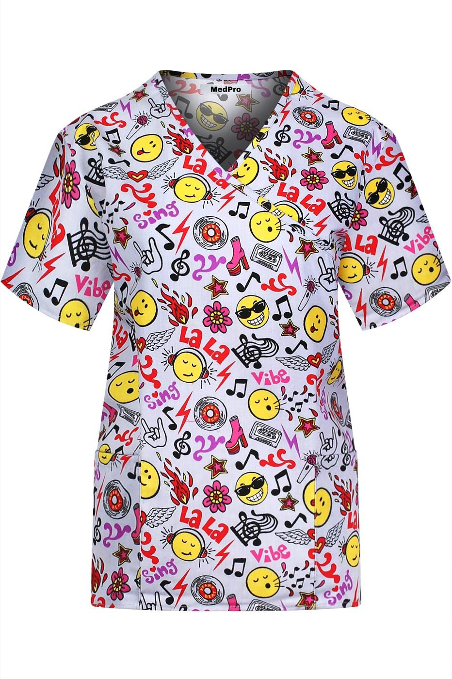 MedPro Women's Medical Scrub Set with Printed Top and Cargo Pants Yellow Pink 2XL(9003-1188GR) by MedPro (Image #2)