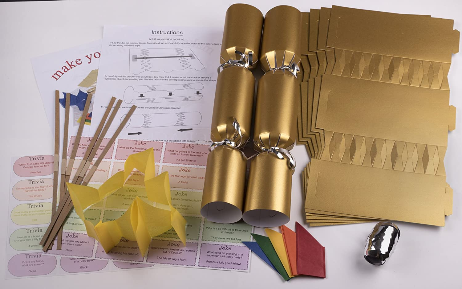 6 x make your own 14 gold christmas cracker kits x 6 amazon 6 x make your own 14 gold christmas cracker kits x 6 amazon toys games solutioingenieria Choice Image