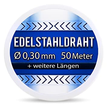 Edelstahldraht V2A - Ø 0,30 mm 50 Meter (0,12 EUR/m) Edelstahl Draht ...